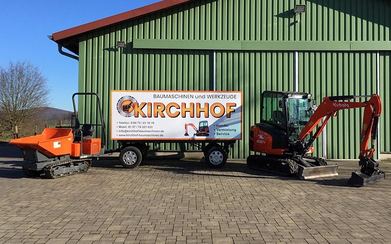 Jochen Kirchhof vermieten unter anderem Minibagger und Kettendumper der Marke Kubota